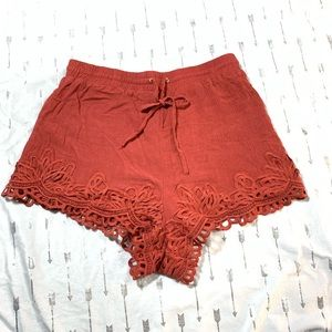 Me to We Shorts - ME TO WE rust lace trim short, small